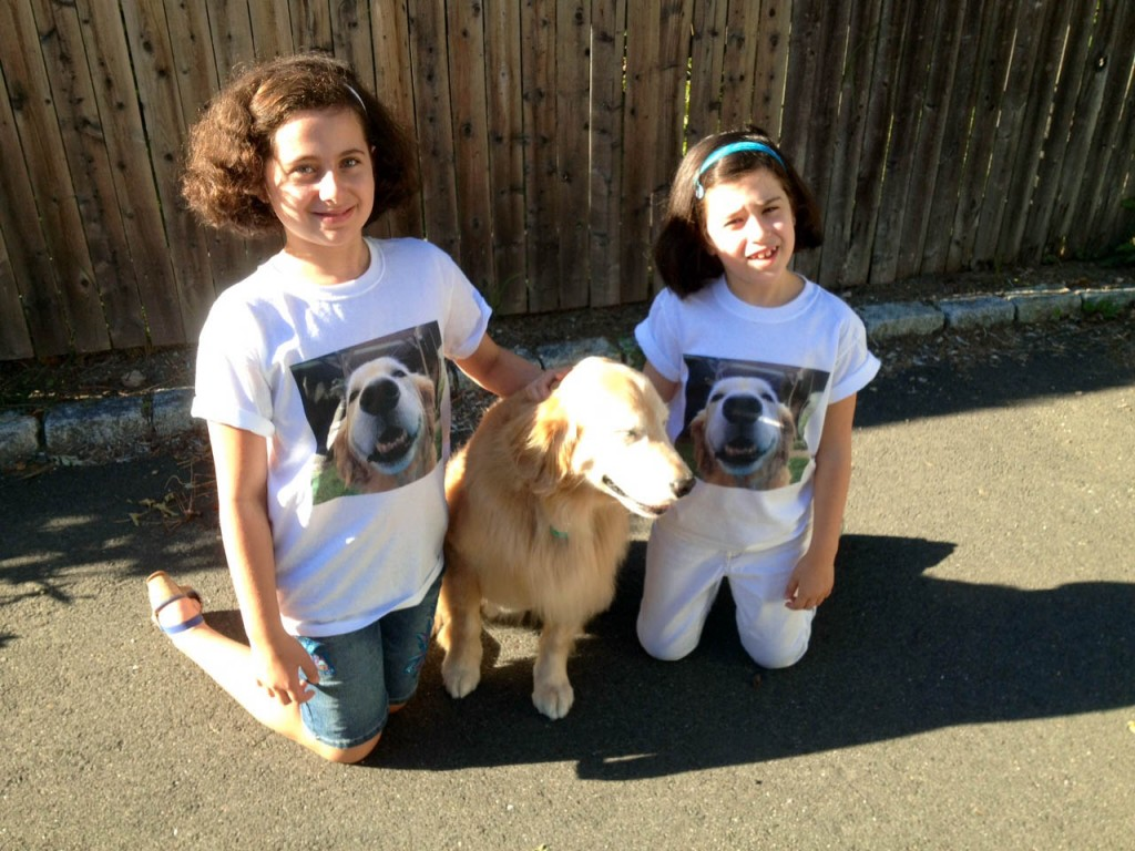 Claire and her two friends who are wearing their new Hope for Claire shirts.
